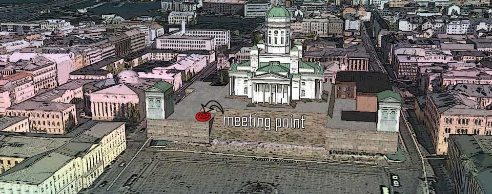 Meeting point for Happy Helsinki Walk & Free Walking Tour Helsinki